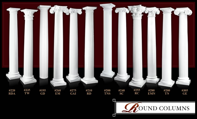 Round columns round column covers and wraps melton for Round porch columns