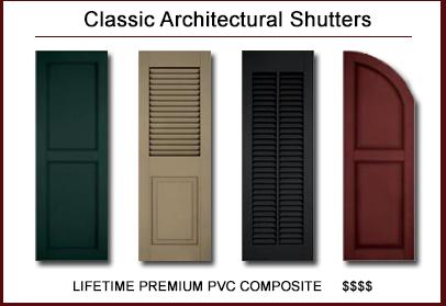 Classic Architectural™ Premium Lifetime PVC Composite Shutters